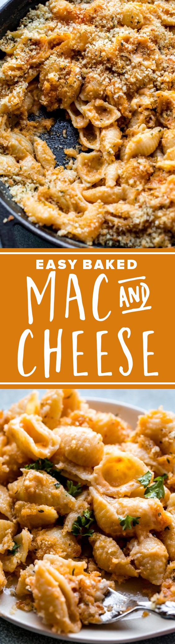 Easy baked macaroni and cheese with cheddar cheese for an easy weeknight comfort food dinner!
