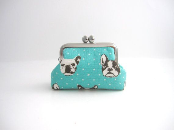 Frame Coin Purse- mini jewelry case with ring pillow - french bulldog in mint blue on Etsy, $22.00