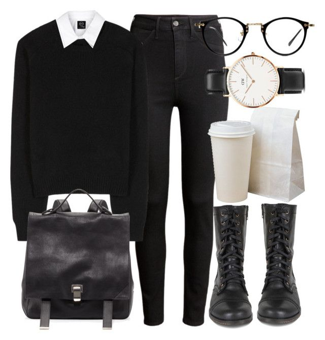 """""""Untitled #5080"""" by laurenmboot ❤ liked on Polyvore featuring H&M, Yves Saint Laurent, McQ by Alexander McQueen, Steve Madden, Proenza Schouler and Daniel Wellington"""