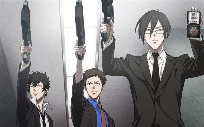 Download wallpapers Psycho-Pass, Shinya Kogami, 4k, Japanese anime, Tomokazu Seki, Takahiro Sakurai, Kenji Nujima, Japanese crime thriller