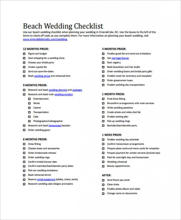 graphic regarding Wedding Photography Checklist Printable known as Seashore Wedding ceremony Record Packing Lists Marriage record