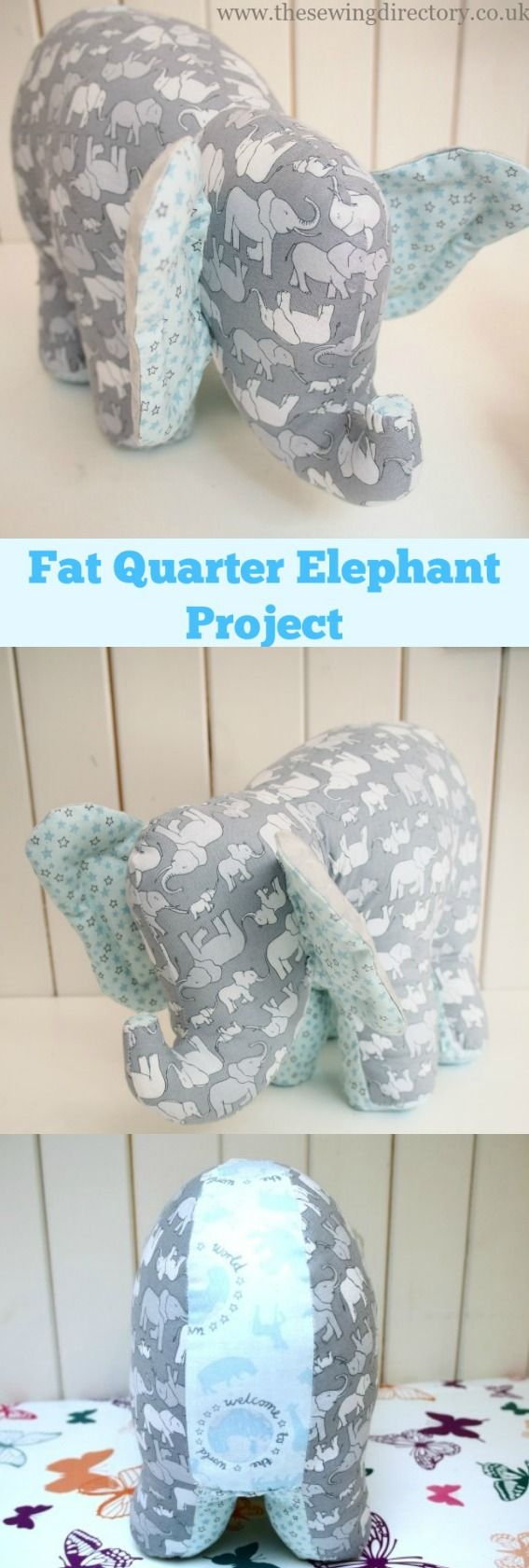Sew this adorable soft toy elephant with 4 fat quarters of fabric #fatquarterproject #softtoyproject