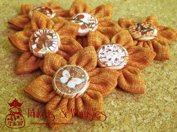 Autumn Flutterbys Fabric Kanzashi Flowers 1 by TrinketsAndWhimsies, $8.40