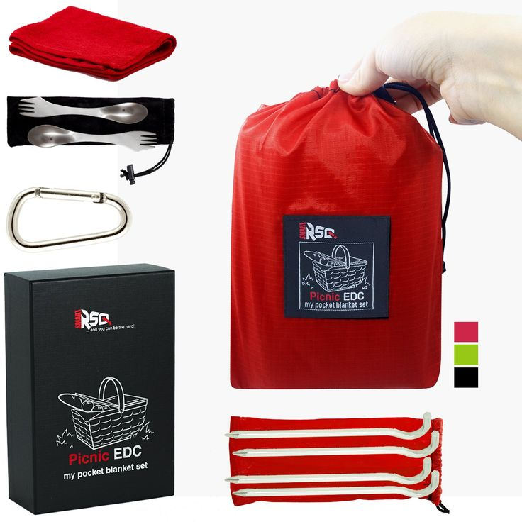 Red Waterproof Picnic Blanket Set for Park Beach Camp. Large Picnic Blanket Waterproof + 9 Outdoor Accessories | Waterproof Beach Blanket Sand Proof + Camping Gadgets. ✅ PREMIUM QUALITY BUNDLE: Outdoor Pocket Blanket with Front Pocket Bag and Earbuds Holder, 4 x Aluminum Stakes, 2 x Sporks (Spoon & Fork), Can & Bottle Opener, Microfiber Towel, Carabiner and Whistle, all in a Premium Box. Make your experiences memorable, whether you are at a Picnic, Beach Camping, Trekking, Climbing…