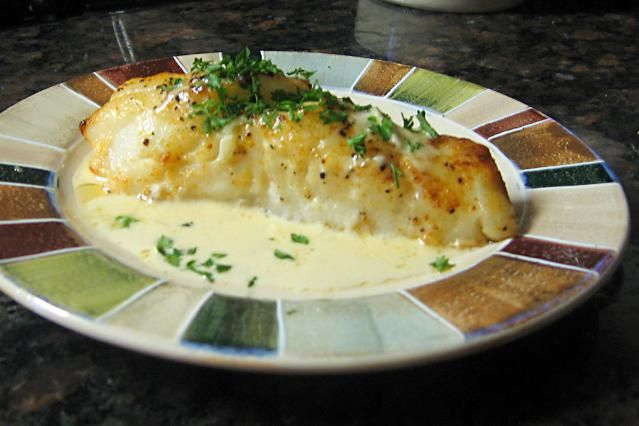 Chilean sea bass recipe - an easy baked sea bass with seasonings, served with sherry cream sauce or a salsa.