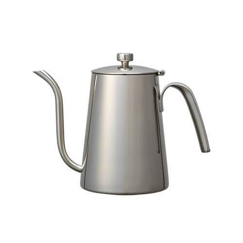 The gently curved narrow spout lets you adjust the pouring speed and volume of hot water. The lid won't fall off when you tip the kettle as it is connected to the body. The kettle can be heated on the direct fire as it is made of stainless steel.