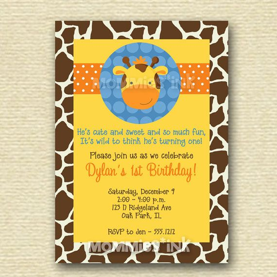 Boy Giraffe First Birthday Party Invitation  by MommiesInk on Etsy, $12.50