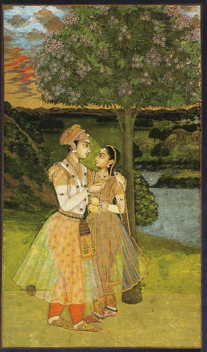 Painting: 'Royal Lovers' - A Prince Offering Wine to his Mistress;  1740. Mughal-Period.
