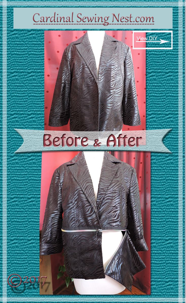 Before and after blazer refashion inspired by Burberry
