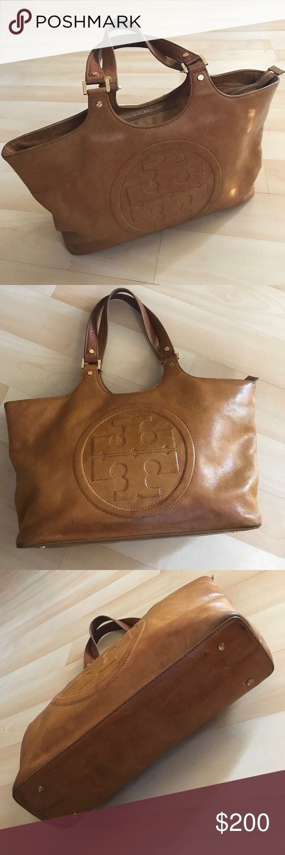 """Vintage caramel Tory Burch pebbled leather bag Vintage caramel Tory Burch pebbled leather bag with zipper at the top. Nice soft leather. Great used condition outside. Needs cleaning inside. Gorgeous bag. Large size 14""""(L), 10""""(H),4""""(D). Shoulder strap length is 16"""". Tory Burch Bags Totes"""