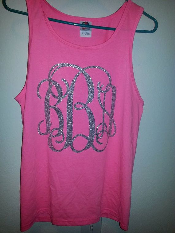 Monogrammed Glitter Tank Top by AccuDzignz on Etsy