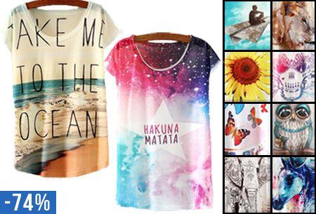 Deze T-shirts met print zijn zo leuk, die moet je gewoon in je kast hebben! De shirts zijn perfect te combineren met een (basic) jeans, short of rokje en zorgen voor een hippe, eigentijdse look. Perfect voor een feestje, festival of gewoon voor elke dag! Mis deze aanbieding dus niet en pak die 74% korting!