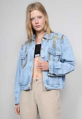 VINTAGE 80'S ROCCOBAROCCO GOLD EMBROIDERED DENIM JACKET
