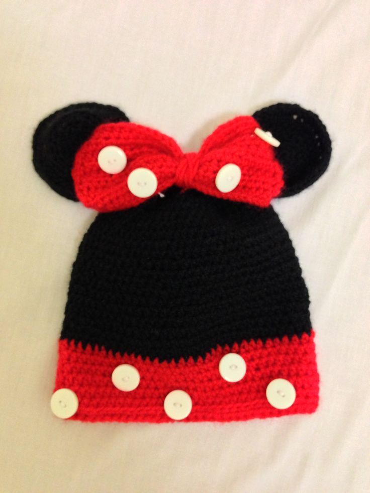 Minnie Mouse Crochet Hat Pattern Child : Crocheted Minnie Mouse baby hat! My projects ...