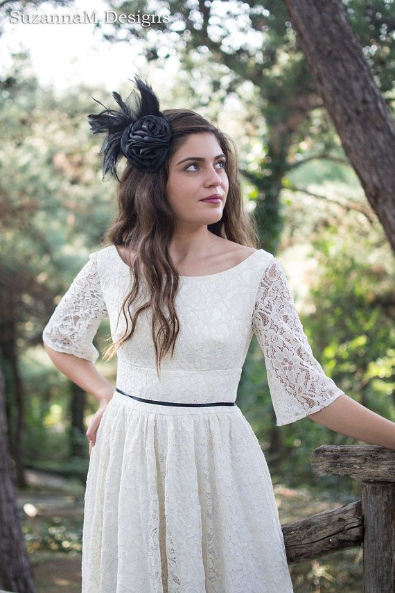 Cream Ivory 50s Wedding Dress Full Skirt por SuzannaMDesigns