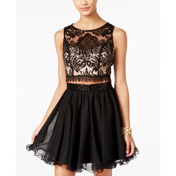 As U Wish Juniors' 2-Pc. Sequined Lace Fit & Flare Dress ($80) ❤ liked on Polyvore featuring dresses, sequin cocktail dresses, 2 piece lace dress, fit and flare dress, 2 piece dress and homecoming dresses