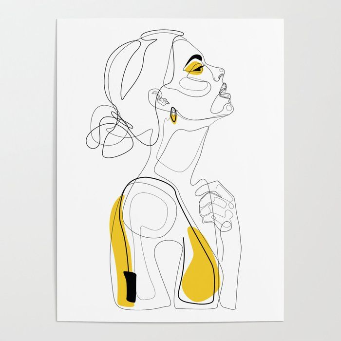 Woman profile illustration hand drawing art print poster