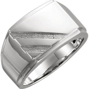 14K White Men's Signet Ring #MyStullerStyle catalog page #521
