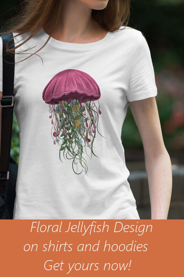 This beautiful floral jellyfish t shirt is perfect for beach and sea lover  and perfect for casual wear everyday. Available in different colors and  sizes 71658c7568