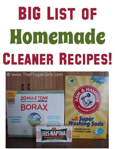 BIG Homemade Cleaner Recipes List #diy #tips