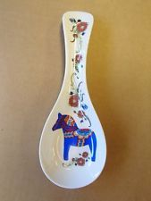 Scandinavian Swedish Blue Dala Horse on Ceramic Spoon Rest