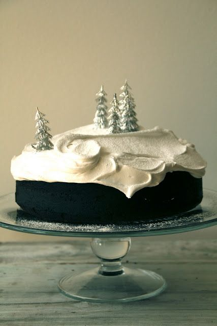 Winter cake with marshmallow icing