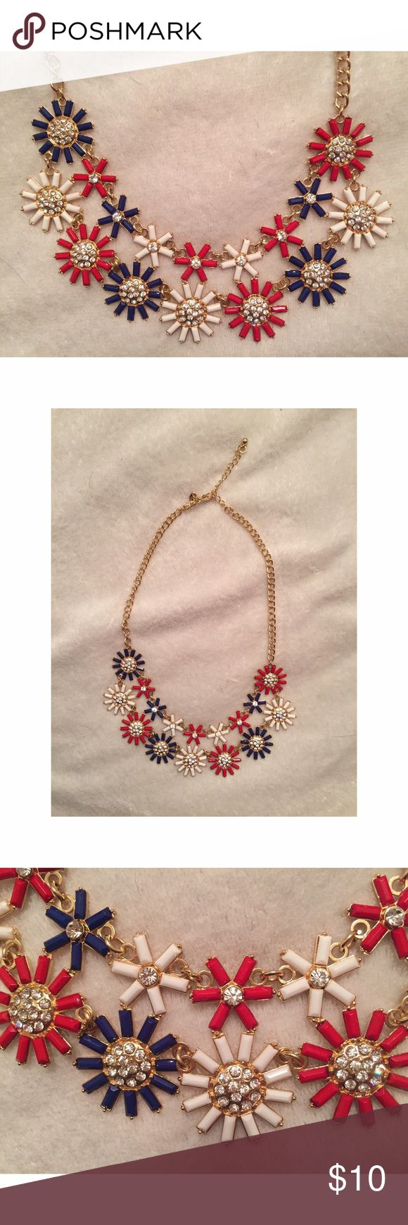 Charming Charlie Statement Necklace Red, white & blue statement necklace from Charming Charlie. Worn once Charming Charlie Jewelry Necklaces