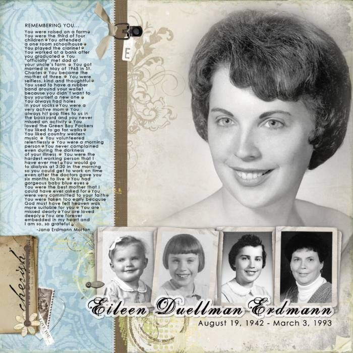 Eileen Duellman Erdmann...great journaling, soft heritage colors and beautiful photo progression.