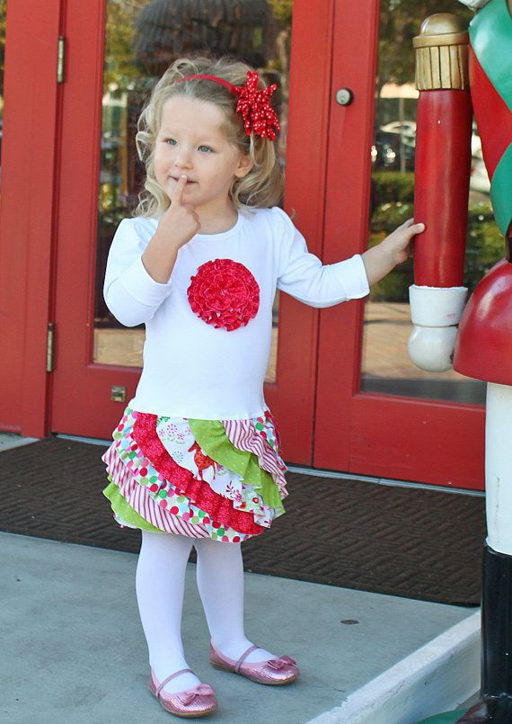Christmas dress ruffles t-shirt toddler girl pattern rosette holiday FLUFFY RUFFLE