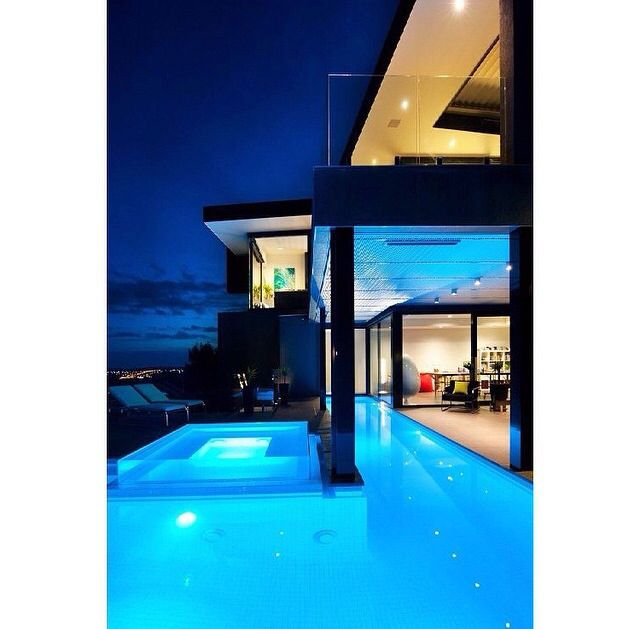Beautiful pool at night