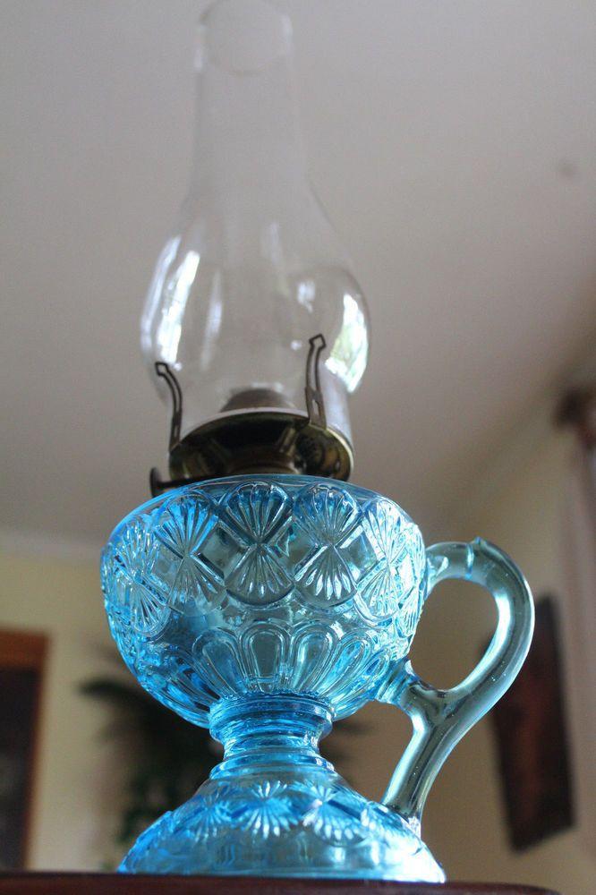 c.1880's ANTIQUE EAPG BLUE DIAMOND & FAN KEROSENE OIL FOOTED FINGER LAMP