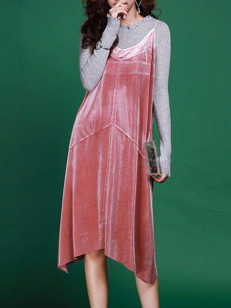 Shop Midi Dresses - Spaghetti Velvet Vintage Midi Dress online. Discover unique designers fashion at StyleWe.com.
