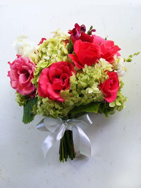 vibrant nature wedding bouquet with garden hydrangea