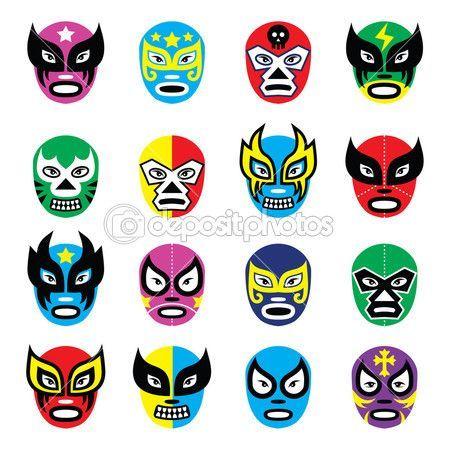 omucha libre, luchador de la lucha libre mexicana máscaras iconos — Ilustración de stock #42198453