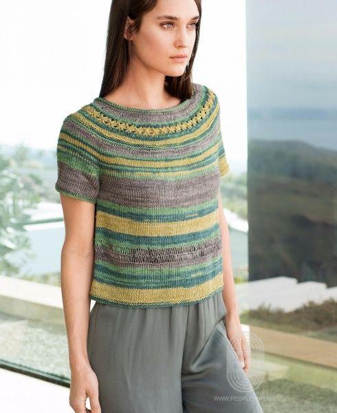Пуловер с круглой кокеткой, схема вязания на сайте Люди Вяжут