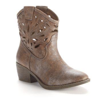 Cutout Cowboy Ankle Boots - Women