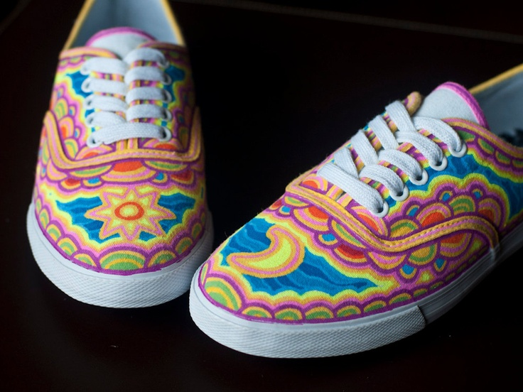 Vibrant Hand Painted Canvas Shoes. $60.00, via Etsy.