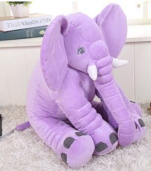Plush Elephant Comes in Purple, Pink, Grey, Blue, Yellow