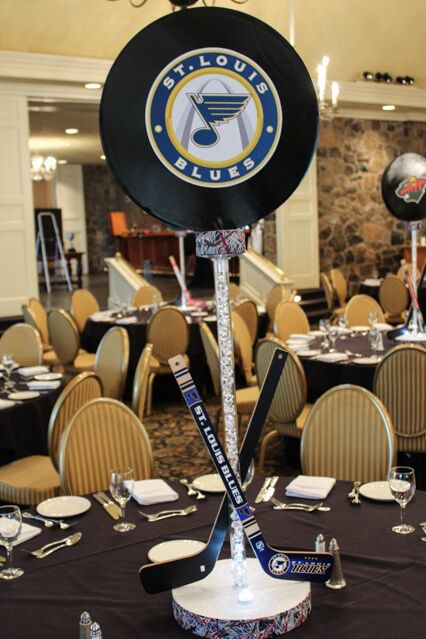 Sports Themed Centerpieces - Hockey Puck Centerpiece