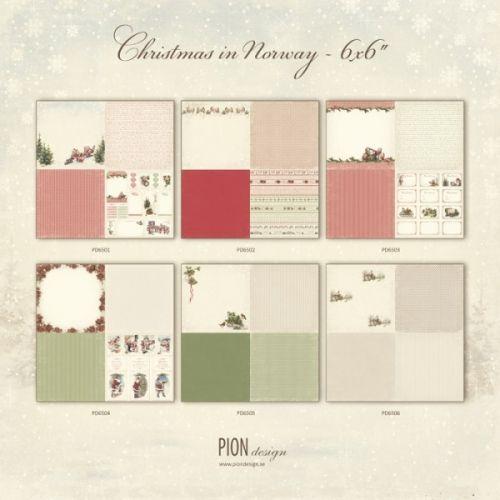 """PION DESIGN - CHRISTMAS IN NORWAY PD6500 6X6 - 1 AV ALLE 6 TOSIDIG MØNSTERARK i serien """"CHRISTMAS IN NORWAY6X6"""" en kolleksjon fra PION DESIGN. Motivetmåler ca 15,2cm x 15,2cm.Christmas in Norway - a collection in a Christmas theme - All six papers - 24 designs in 6x6"""" - Paper size 12x12"""""""