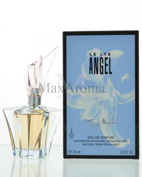 Thierry Mugler Le Lys Angel     Top notes are fruity notes, hiacynth, water lily and lily-of-the-valley; middle notes are nutmeg, honey and caraway; base notes are amber, patchouli and vanilla.    www.maxaroma.com fragrance women thierry-mugler-le-lys-angel-for-women pid 11383 5