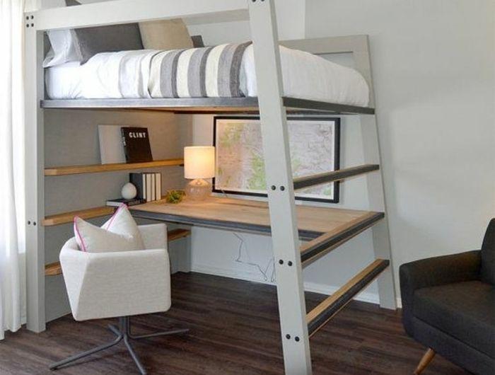 Cama alta com mesa integrada – vantagens inegáveis ilustradas em 39 fotos. – Archzine.fr