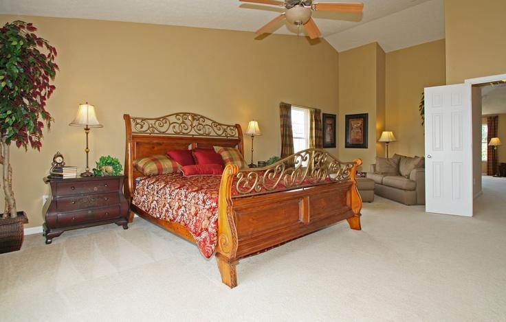 Master Bedroom of the Redwood Model. Large Kingsize Bed
