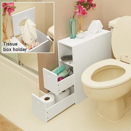 White Slim Bathroom Storage Organizer With Drawers Tissue Dispenser