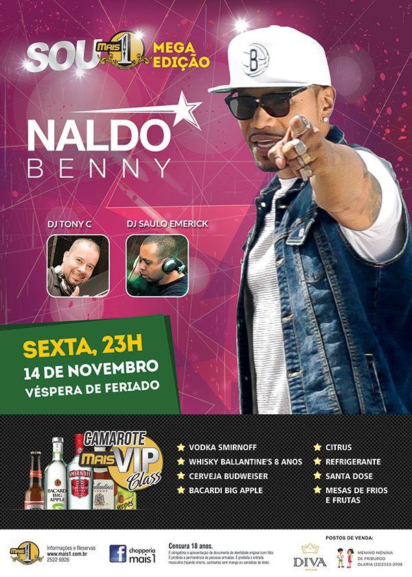 """Arte do flyer """"Naldo Benny"""" - verso"""