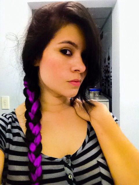 Braid with purple ribbon