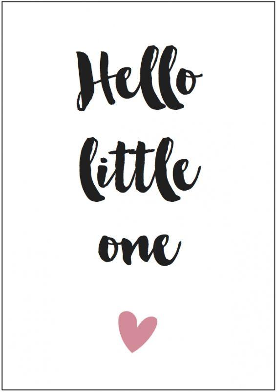 Kaart girl | Hello little one  Formaat: A6 (105 mm x 148 mm) Papier: HVO Offset 340 grams - € 1,25