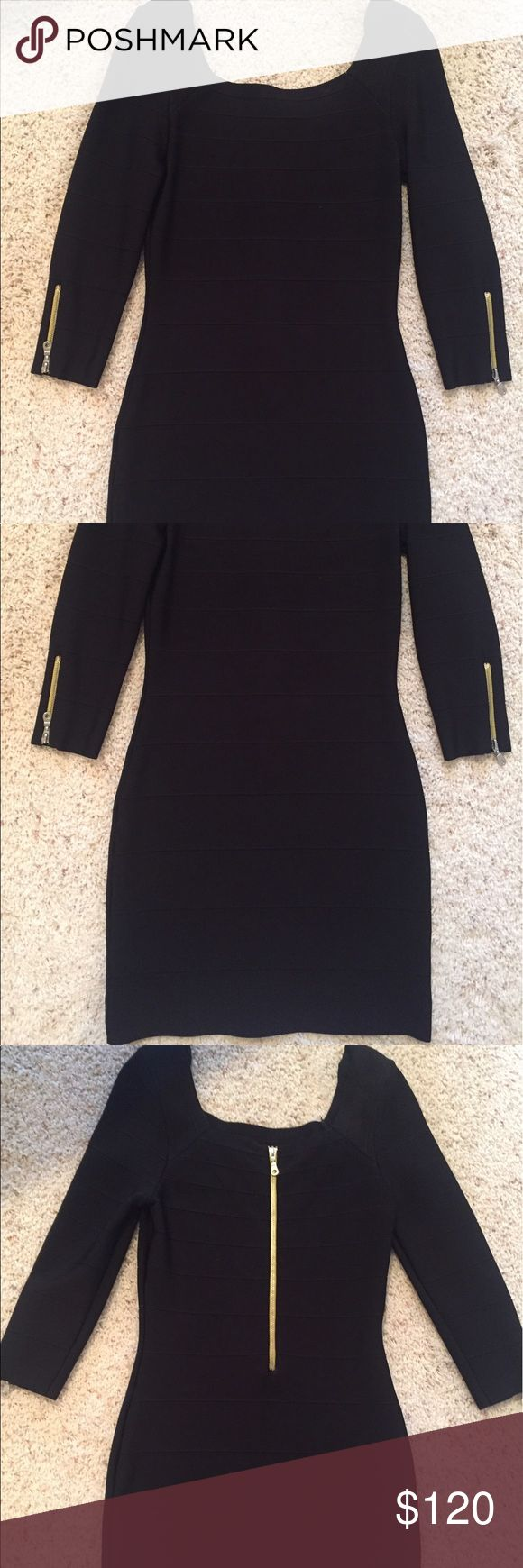 INC Black Bodycon Dress INC Bodycon dress.  Black. Size M.  Dress has modern accents including silver zippers on each arm and an exposed silver zipper down the back of the dress. Very modern. Dress is figure hugging and very flattering. Worn once. From Macy's. Worn once. From a pet free/smoke free home. 💜5 Star Rated Seller! 💜Same or Next Day Shipper (Excludes Weekends and Holidays)! INC International Concepts Dresses Midi
