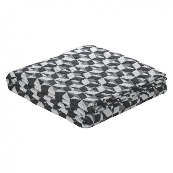 PAULISTA Black and white quilted cotton throw 150x200cm | Buy now at Habitat UK
