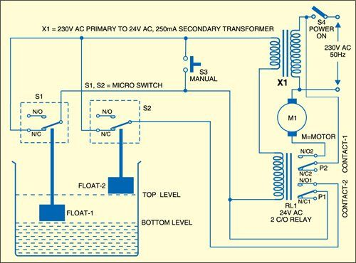 Water Pump Controller Circuit Full Project Details Available Circuit Water Pumps Water Level Switch